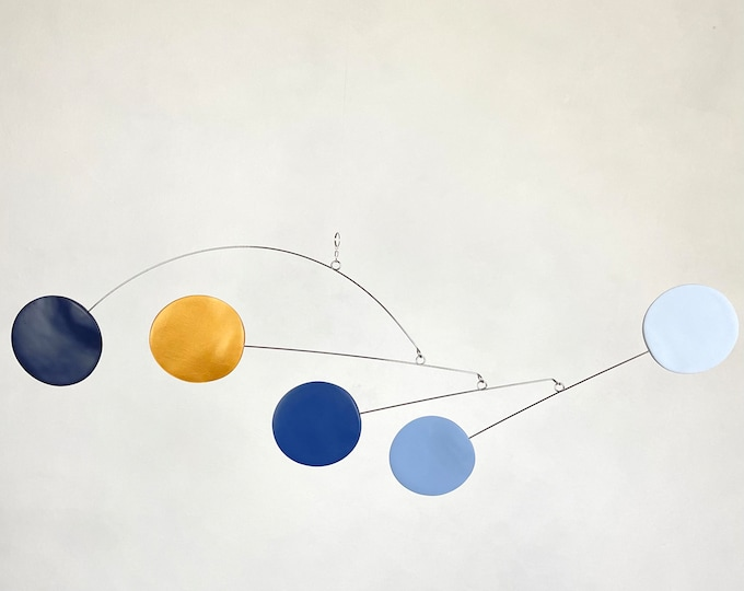 Shades of Blue and Gold Hanging Mobile, Abstract Art,  Kinetic Mobile, Modern Mobile, Mid Century Modern, Sculpture, Art Decor