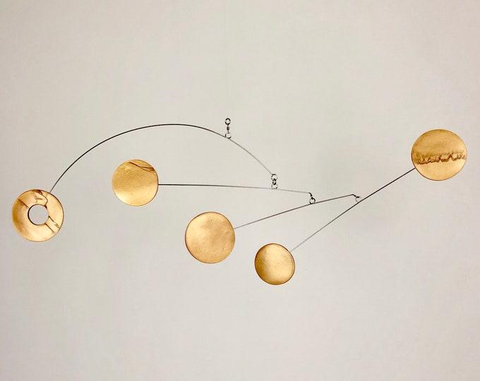 Gold Hanging Mobile, Kinetic Mobile, Art Mobile, Modern Mobile, Mid Century Modern, Hanging Sculpture, Art Decor, Modern Home, Mobile