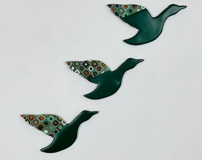 Flying Ducks, Wall Art, Green and Gold, Mid Century Modern, Wall Hanging, Duck Decor, Kitsch Wall Art, Three Flying Ducks, Retro Home