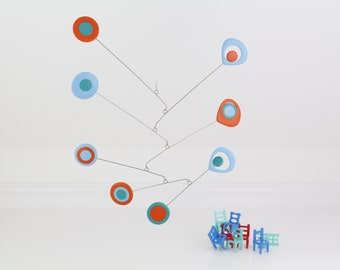 Modern Mobile Kinetic, Retro, Blue Turquoise Orange, Hanging Mobile, Mid Century