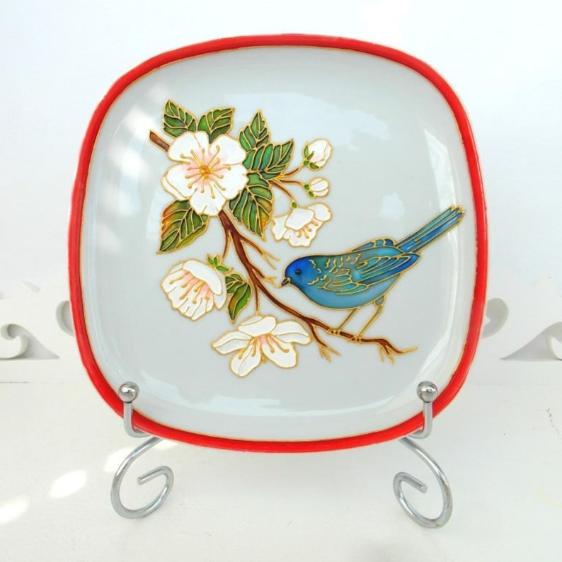 Bird Plate For Hanging Wall Decor Bird White Display Plate Etsy