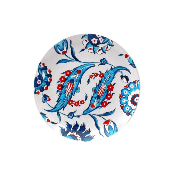 Hand Painted Plate On Wall Blue White Turkish Art Display Etsy