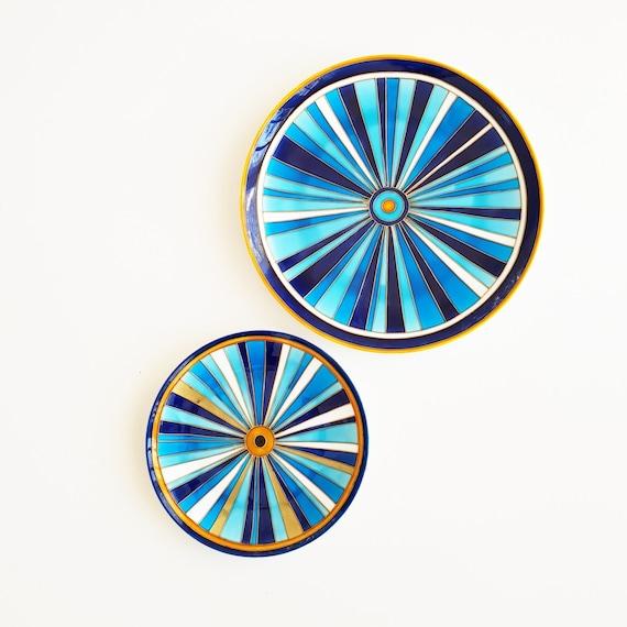 Ceramic Plate Set Cobalt Blue Plates Wall Decor Etsy
