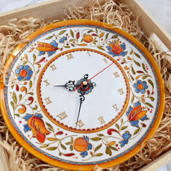 Horloge Murale Décorative Pour Cuisine 27 Cm Plaque De Céramique Murale Horloge Grande Horloge Orange Majolique Pendaison De Crémaillère Cadeau