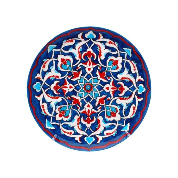 Decorative Wall Plate Blue Moroccan Ornament Kitchen Wall Decor Housewarming Gift Hand Painted Plate On Wall Hostess Gift