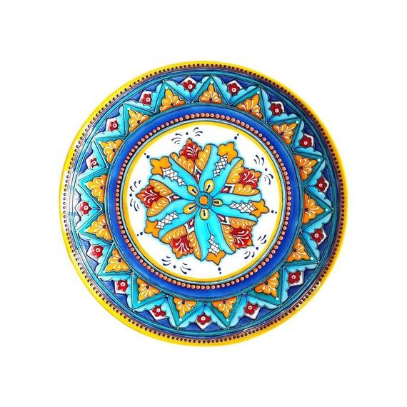 Ceramic Decorative Plate On Wall Blue Yellow Decor Large Etsy