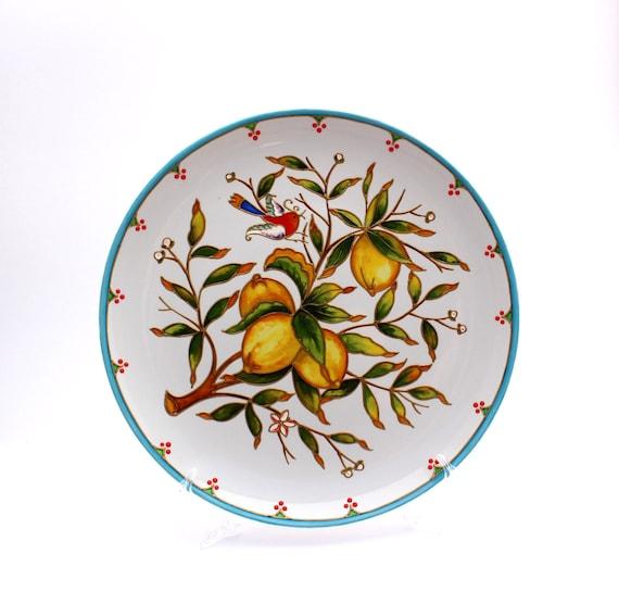Majolica Plate Kitchen Wall Decor Large Decorative Hand Etsy