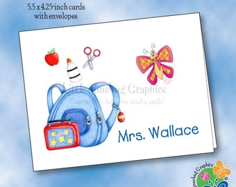 Personalized Note Cards, Thank You Notes, Personalized Stationery, School Backpack and Butterfly Note Cards