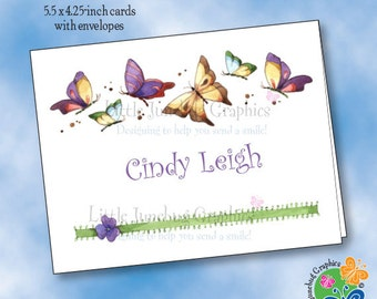 Personalized Note Cards, Thank You Notes, Personalized Stationery, Butterflies and Pansy Note Cards