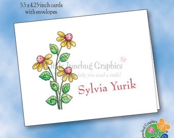 Personalized Note Cards, Thank You Notes, Personalized Stationery, Spring Flowers Note Cards