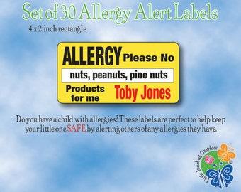 Personalized Allergy Alert Labels, Peanut Allergy Alert Labels, Allergy Safety