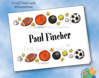 Personalized Note Cards, Thank You Notes, Personalized Stationery, Sports Balls, Basketball, Football, Tennis, Baseball Note Cards