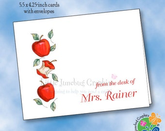 Personalized Note Cards, Thank You Notes, Personalized Stationery, Apple for the Teacher Note Cards