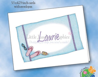 Personalized Note Cards, Thank You Notes, Personalized Stationery, Beach Towel & Flip Flop Note Cards