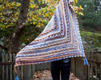 Crochet Shawl, Embossed Shawl, Handmade Shawl, Elegant Shawl, Stunning Shawl, Woman Shawl, Tassel Shawl, Triangle Shawl, Multicolor Shawl