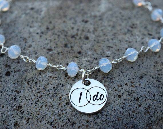 Bridal Anklet, Silver I Do Moonstone Glass Bead Ankle Bracelet, Wedding Anklet, I Do Jewelry, Bridal Jewelry, Bachelorette Anklet Bride Gift