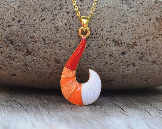 Fox Tail Necklace, Glitter, Red Orange White Fox Necklace, Gift for Little Girl, Cat Costume Cosplay, Black Faux Leather or Gold Chain