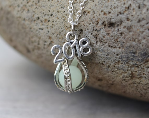 Glows! Graduation Gift 2019 Necklace, Glow in the Dark Drop, Class of 2019 Mermaid Tear, Dragon Egg Glowing Necklace, Birthday Year Necklace