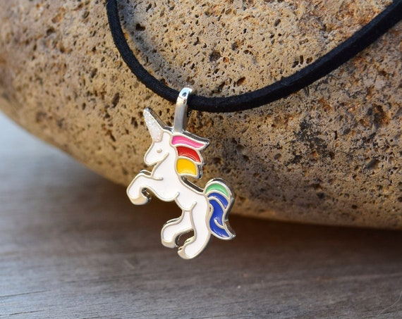 Unicorn Choker Necklace, Unicorn Gift for Little Girl, Rainbow Unicorn, Choker for Kids, Pre Teen or Adult, Enamel Unicorn Jewelry