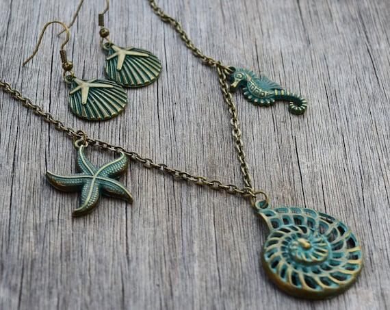 Uma Necklace and/or Earrings, Nautical Verdigris Patina Bronze Seashell, Seahorse, Starfish, Sea Star, Mermaid Jewelry, Vacation Beach Wear