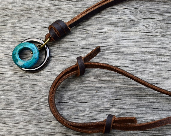 Men's Unisex Chrysocolla Stone Leather Necklace, Adjustable, O Ring, Gift for Him Man, Mixed Metals w Blue Turquoise Green Natural Stone