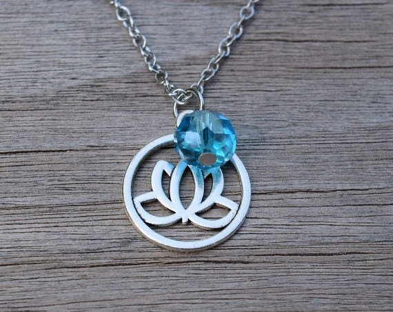SALE Lotus Flower Necklace, Yoga Necklace, Yoga Gift, Silver Tone Lotus Blossom with Blue Crystal, Spiritual Jewelry, Yogi Gift