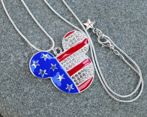 Independence Day Necklace, Fourth of July 4th Mouse Ears, American Flag Mickey Fan Gift, Rhinestone Patriotic USA Necklace, Adult or Kids