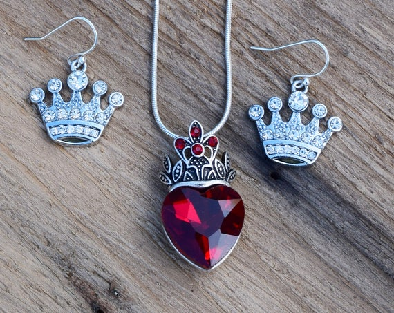 Evie's Necklace and Earrings Set, Descendants Costume Red Heart with Crown Necklace and Crown Earrings, Pre Teen Gift, Rhinestone Heart