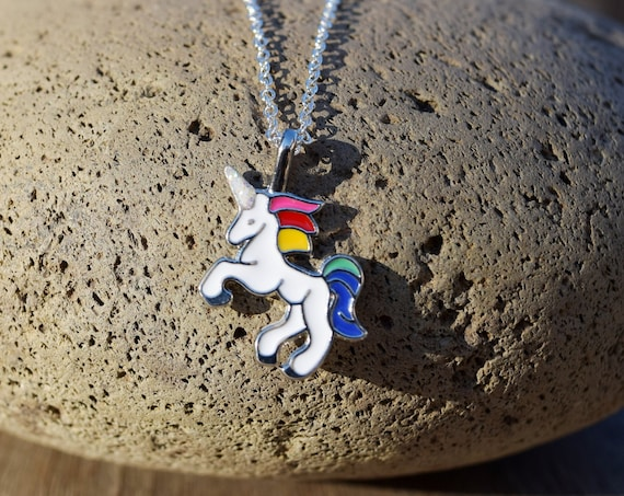 Rainbow Unicorn Necklace, Unicorn Gift for Little Girl, Dainty Unicorn, Chain or Faux Leather, White Unicorn, Adult or Kids Necklace
