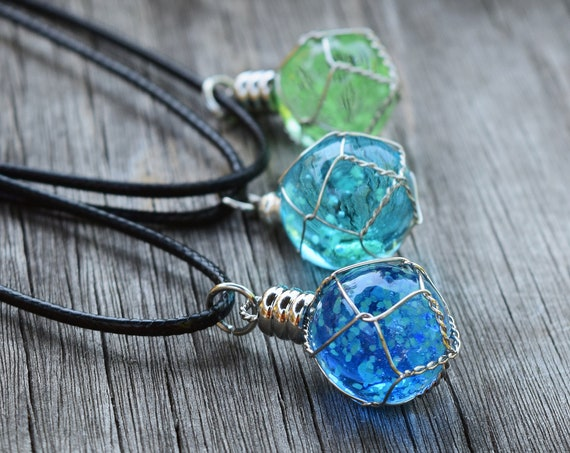 "Glow in the Dark Werewolf ""Moonstone"" Necklace, Glowing Wire Wrapped Orb Planet, Gift 2 Zombies Fan, Materia, Gamer Geek Gift, Blue or Green"