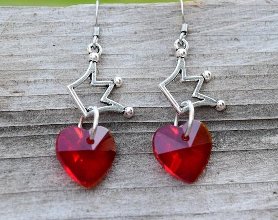 Evie Earrings, Red Heart Silver Crown Earrings, Queen of Hearts Costume Cosplay,  Descendants Fan Gift, Valentines's Day Earrings