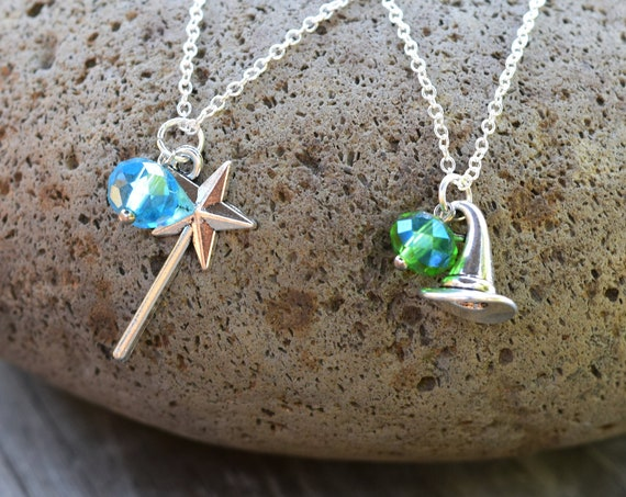 Wicked Musical Best Friends Necklaces, Elphaba or Glinda Necklace, Magic Wand / Witch Hat Necklace, Oz Jewelry, Sold as a Pair or Alone