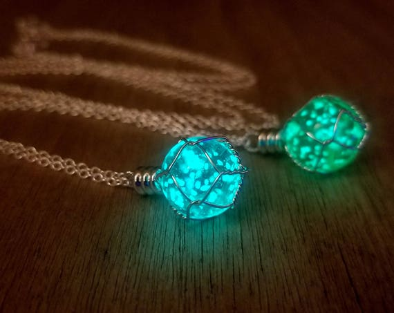 Glow Holy Materia Necklace, Aqua/Green Glowing Orb, Fantasy Wire Wrapped Glowing Planet, Shield Potion, Final Dragon Egg, Gamer Geek Gift