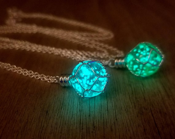 Glow Holy Materia Necklace, Shield Potion, Aqua/Green Glowing Orb, Fantasy Wire Wrapped Glowing Planet, Final Dragon Egg, Gamer Geek Gift