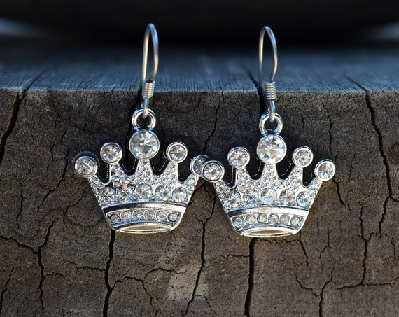 Rhinestone Crown Earrings, Silver Tone Princess Queen Royal Crown Earrings, Evie Costume Earrings, Queen of Hearts, Diva Queen Bee Gift