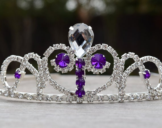 Sofia Tiara, Princess Sofia Costume, Purple Clear Crystal Tiara, The First Gift for Sophia Fan, Flower Girl Tiara, Prom Crown, Sofia Cosplay