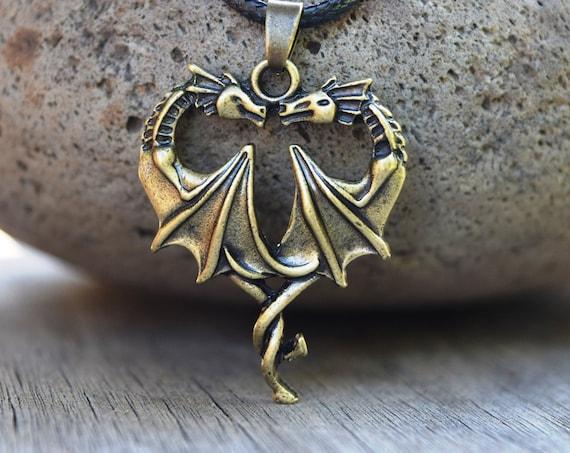Dragon Heart Necklace, Mal Costume Dragon Choker, Antique Bronze 2 Twin Dragons Heart Shape Necklace, Gift for Dragon Lover Descendants Fan