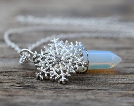 Frozen Snowflake Ice Shard Necklace, Glass Icicle Opalite Crystal, Ice Queen Elsa Costume Cosplay, Unique Christmas Gift for Little Girl