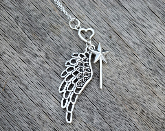 Fairy Godmother Necklace, Gift for Godmother, Magic Wand, Angel Wing, and Heart Necklace
