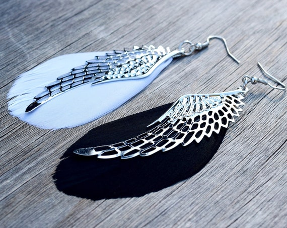 Black and White Feather Wing Earrings, Mismatched Earrings, Good Omens Fan Gift, Good and Evil Earrings, Angel Demon Wings, Yin and Yang