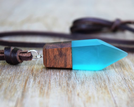 Wood and Resin Necklace, Unisex Men's Brown Leather Necklace, Cosplay Kida Atlantis, Gift for Him, Men's Blue Resin Crystal, Wooden Jewelry