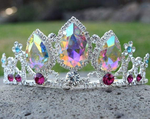 Rapunzel Crown, Silver Princess Costume Tiara, Adult or Little Girl Tangled Fan, Flowers w Tear Drop, Arora Borealis Adult Rapunzel Cosplay
