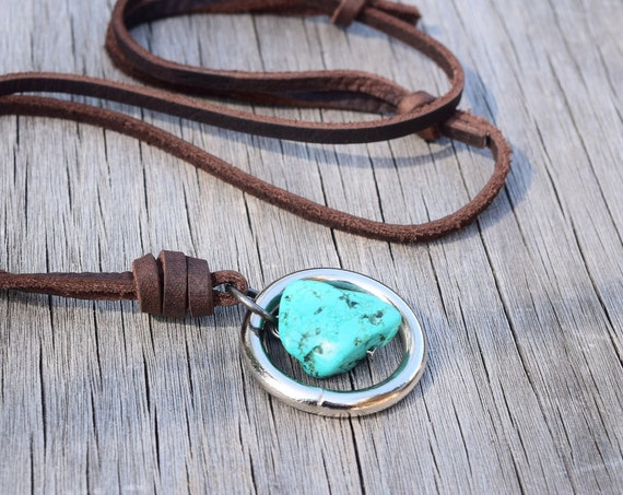 Men's Leather Raw Turquoise Howlite Stone Necklace, Adjustable, Geometric, Nickel O Ring, Gift for Him / Husband / Boyfriend, Real Stone Raw