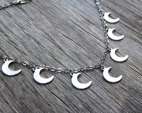 Julie's Moon Necklace, The Phantoms Silver Metal Multiple Moon Choker, Sunset Curve and Mini Moons, Many Crescent Moon Choker Necklace