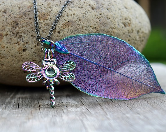 Dragonfly Necklace with Real Leaf, Glowing Dragonfly, Rainbow Titanium Finish, Glow in the Dark, Long or Short, Gift for Dragonfly lover