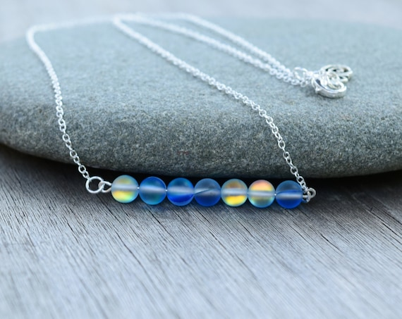Mermaid Glass Necklaces, Blue Matte Glass Beads, Bar Necklace, Spinner Necklace, Gift for Her, Minimalist Jewelry, Geometric Jewelry