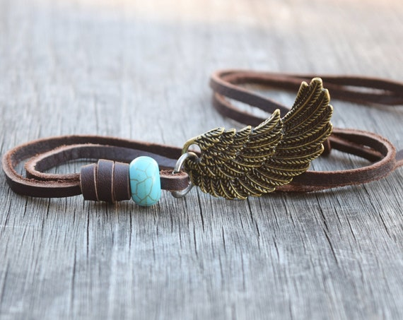 Men's Leather Feather Necklace with Turquoise Howlite Stone, Adjustable, Gift for Him, Husband, Boyfriend, Mixed Metals, Wing w Blue Stone