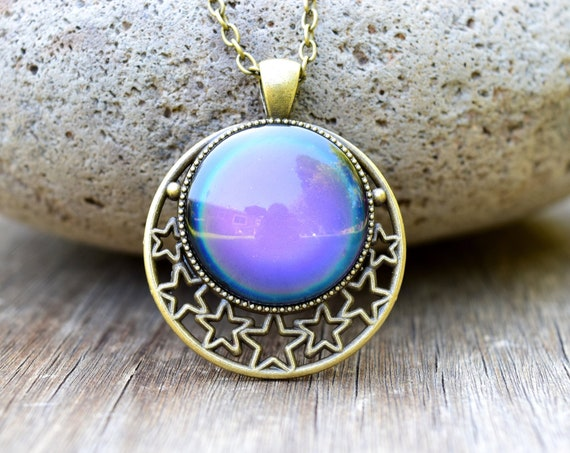 Mood Necklace with Stars, Large Mood Pendant, Celestial Spiritual Jewelry, Moon with Stars Necklace, Color Changing Temperature Necklace