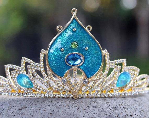 Live Action Jasmine Tiara, Aladdin Movie 2019 Crown, Princess Jasmine Costume, Gold Green or Blue Tiara, Peacock Crown, Festival Headdress