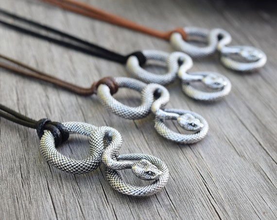 Twisted Snake Faux Leather Necklace, Infinity Snake, Uroboros Men's Necklace, Gift for Him, Little Boy, Father's Day, Silver Ouroboros